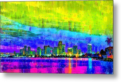 Miami Skyline 153 - Da Metal Print by Leonardo Digenio