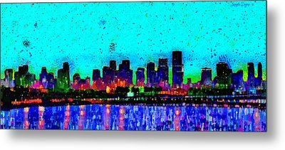 Miami Skyline 21 - Pa Metal Print by Leonardo Digenio