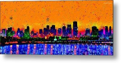 Miami Skyline 24 - Pa Metal Print