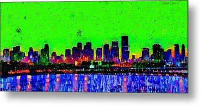Miami Skyline 27 - Da Metal Print by Leonardo Digenio