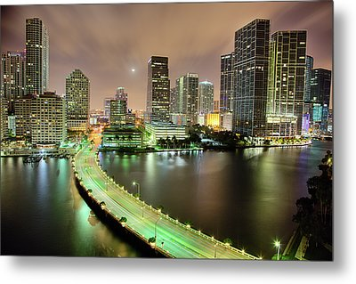 Miami Skyline At Night Metal Print