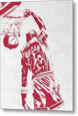 Michael Jordan Chicago Bulls Pixel Art 1 Metal Print