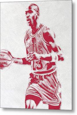 Michael Jordan Chicago Bulls Pixel Art 2 Metal Print by Joe Hamilton