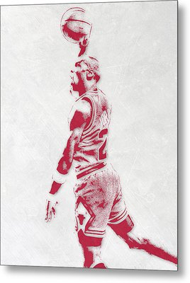 Michael Jordan Chicago Bulls Pixel Art 3 Metal Print