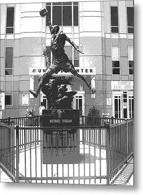 Michael Jordan Statue Metal Print by Amber Roth
