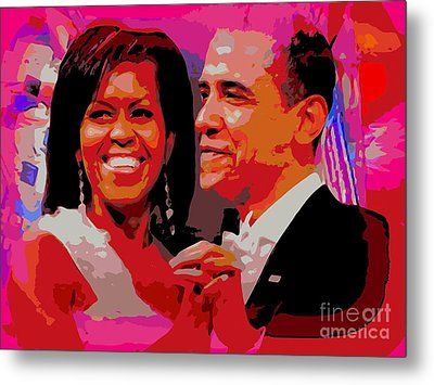 Michelle And Barack Metal Print