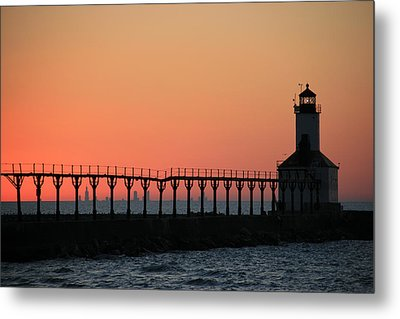 Michigan City East Pier Lighthouse Metal Print by George Jones