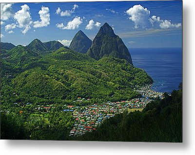 Midday- Pitons- St Lucia Metal Print by Chester Williams