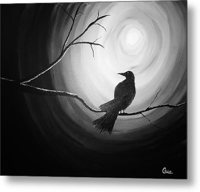 Midnight Raven Noir Metal Print