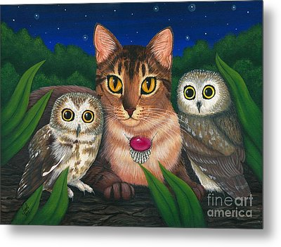 Metal Print featuring the painting Midnight Watching - Abyssinian Cat Saw Whet Owls by Carrie Hawks