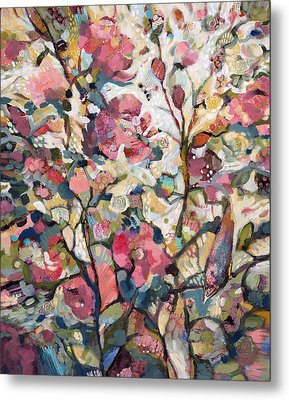 Midsummer Hollyhocks Metal Print by Jen Norton