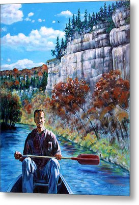 Mike On Float Trip Metal Print by John Lautermilch