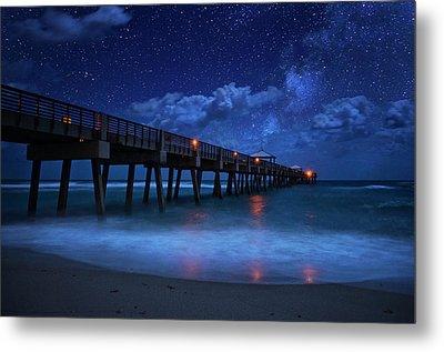 Milky Way Over Juno Beach Pier Under Moonlight Metal Print