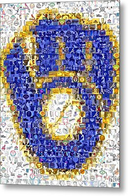 Milwaukee Brewers Mosaic Metal Print by Paul Van Scott