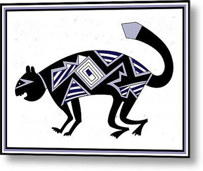 Metal Print featuring the digital art Mimbres Mountain Lion by Vagabond Folk Art - Virginia Vivier