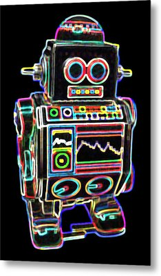 Mini D Robot Metal Print by DB Artist