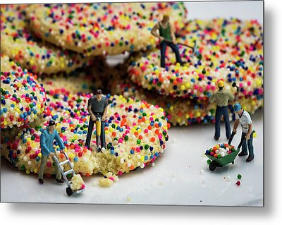 Miniature Construction Workers On Sprinkle Cookies Metal Print