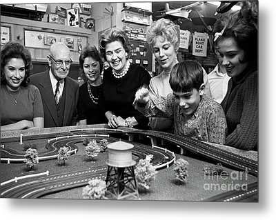 Miniature Racing Cars At A Hobby Shop Run By Rich Palmer In 1962 Metal Print by The Harrington Collection
