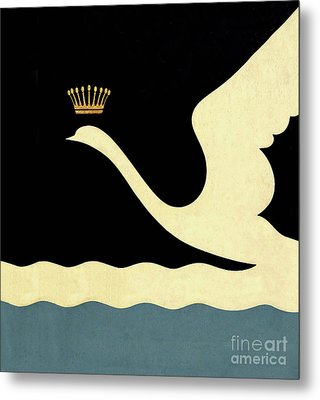 Minimalist Swan Queen Flying Crowned Swan Metal Print by Tina Lavoie