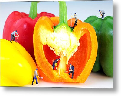 Mining In Colorful Peppers Metal Print by Paul Ge