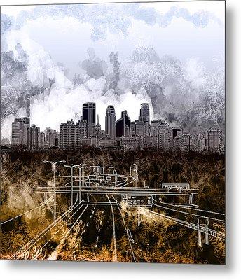 Minneapolis Skyline Abstract Metal Print