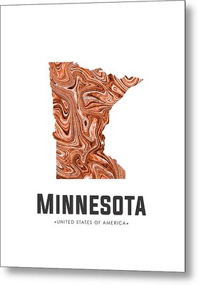 Minnesota Map Art Abstract In Brown Metal Print