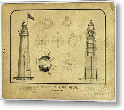 Minot's Ledge Light House. Massachusetts Bay Metal Print by Vintage