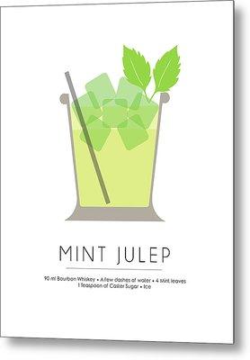 Mint Julep Classic Cocktail - Minimalist Print Metal Print