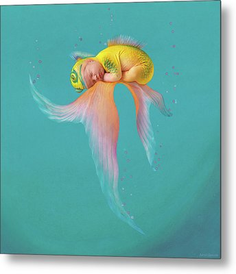 Mira As A Tropical Fish Metal Print by Anne Geddes