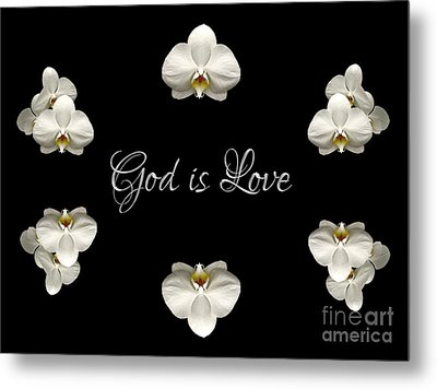 Mirrored Orchids Framing God Is Love Metal Print by Rose Santuci-Sofranko