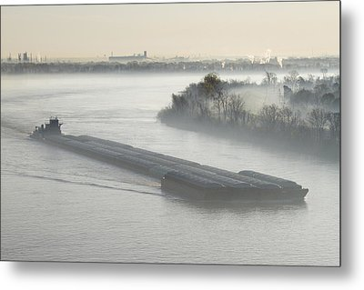 Mist Shrouded River And Tugboat Metal Print by Jeremy Woodhouse