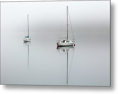 Metal Print featuring the photograph Misty Boats by Grant Glendinning
