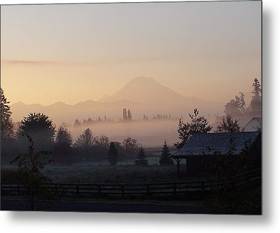 Misty Mt. Rainier Sunrise Metal Print by Shirley Heyn