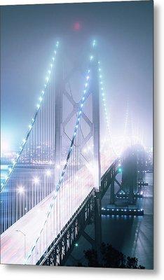 Misty Night, Bay Bridge, San Francisco Metal Print by Vincent James