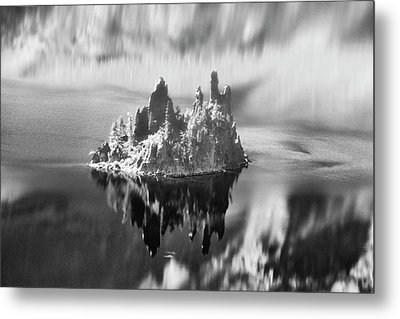 Metal Print featuring the photograph Misty Phantom Ship Island Crater Lake B W  by Frank Wilson