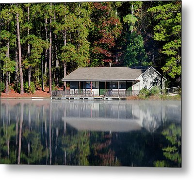 Misty Reflection At Durant Metal Print by George Randy Bass