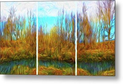 Misty River Vistas - Triptych Metal Print