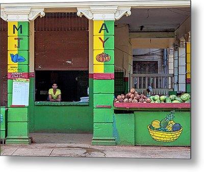 Mjay Fruit Stand Havana Cuba Metal Print by Charles Harden