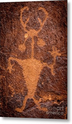 Moab Man Petroglyph Portrait - Utah Metal Print by Gary Whitton