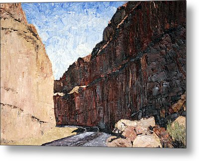 Metal Print featuring the painting Moab Train Tracks by Jane Autry