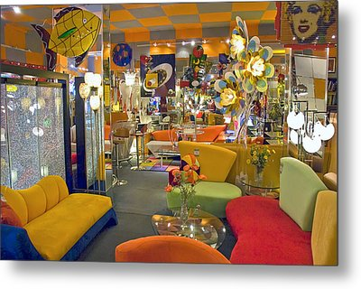 Metal Print featuring the photograph Modern Deco Furniture Store Interior by David Zanzinger