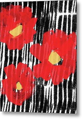 Modern Red Flowers- Art By Linda Woods Metal Print