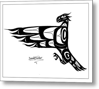 Mohawk Eagle Black Metal Print by Speakthunder Berry