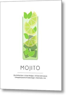 Mojito Classic Cocktail - Minimalist Print Metal Print
