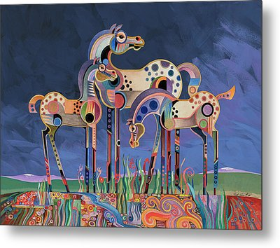 Mom And Foals Metal Print by Bob Coonts