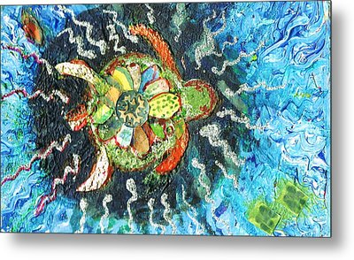 Mom There Is A Turtle In The Swimming Pool II Metal Print by Anne-Elizabeth Whiteway