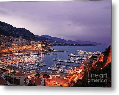 Monaco Harbor At Night Metal Print by Matt Tilghman