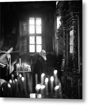 Monk And Candles Metal Print by Emanuel Tanjala