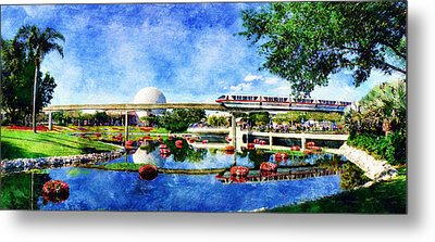 Monorail Red - Coming 'round The Bend Metal Print