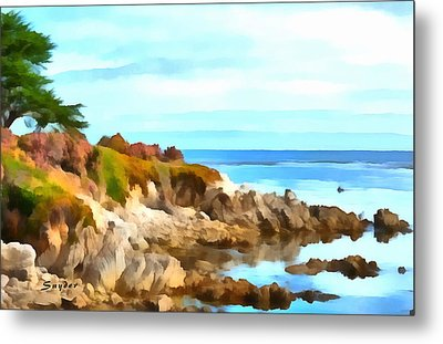 Metal Print featuring the photograph Monterey Coastline Watercolor by Floyd Snyder